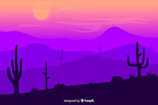 Desert landscape with beautiful violet gradient shades