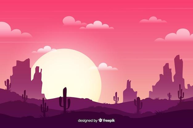Пустынный пейзаж с кактусами и солнцем Бесплатные векторы