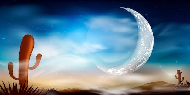 サボテンと砂漠の風景。石の砂漠。山の風景の背景に沈む夕日。月と夜の風景の背景。