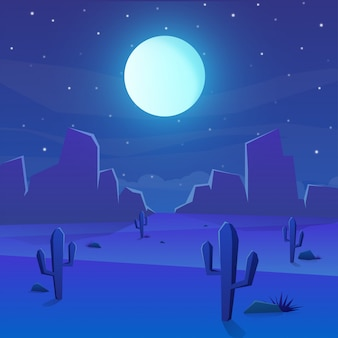 Desert landscape with cactus and full moon on night