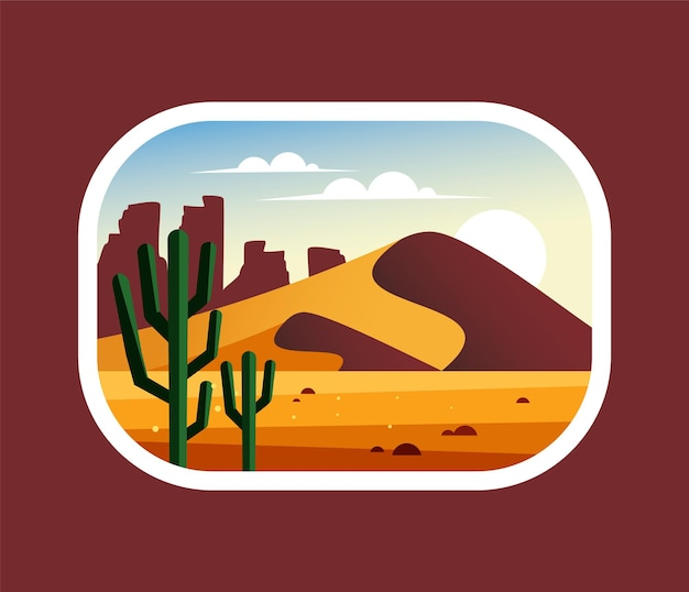 Desert landscape with cactus, hills and mountains