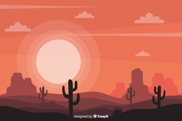 Desert landscape with cactus and sun