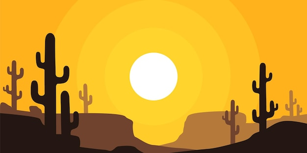 Desert landscape with cactus at sunset