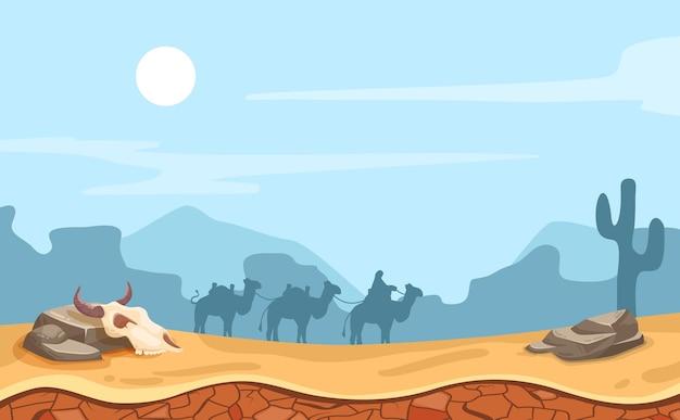Paesaggio desertico con illustrazione di cammelli