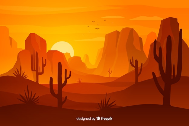Desert landscape with dunes and cacti