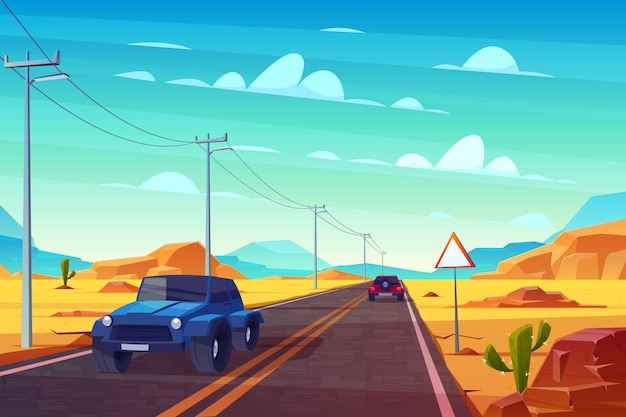 Desert landscape with long highway and cars ride along asphalt road with sign and wires.