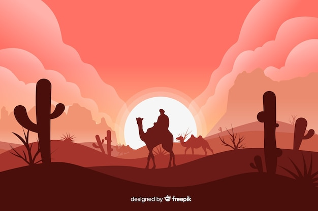 Desert landscape with man on camel