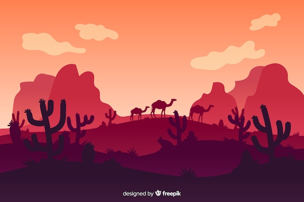 Desert landscape with mountains and camels