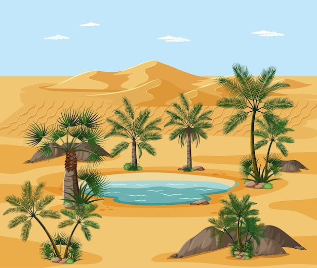 Desert landscape with nature tree elements scene