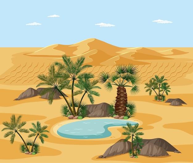 自然の木の要素のシーンと砂漠の風景