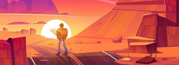 저녁 태양 벡터 만화 삽화의 배경에 주황색 바위 도로와 등산객 남자가 있는 사막 풍경
