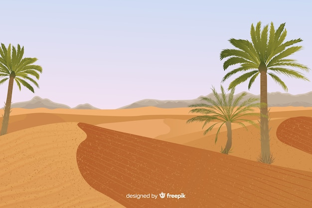 Desert landscape with palm tree