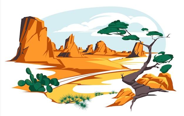Пустынный пейзаж со скалами и кактусами, плоское шоссе, песчаная пустыня с оранжевыми горами
