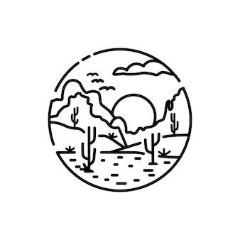 砂漠のロゴ乾燥した土地とサボテンの木の冒険vintgehipsterロゴ