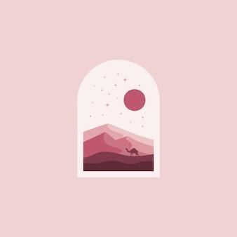 砂漠のロゴデザインイラスト