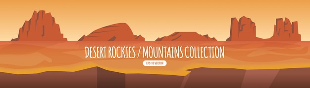Desert mountains illustration collection