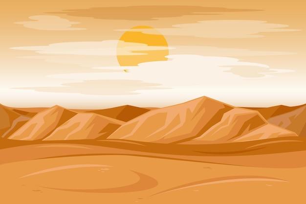 砂漠の山々の砂岩の背景。太陽の下で乾燥した砂漠、果てしない砂の砂漠。