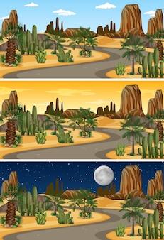 さまざまな時間帯の砂漠の自然景観シーン