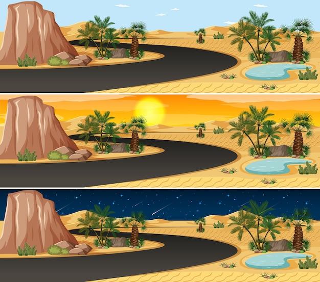 Scena del paesaggio della natura del deserto in diversi momenti della giornata
