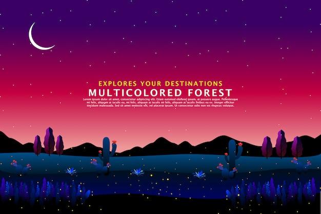 Desert night landscape template