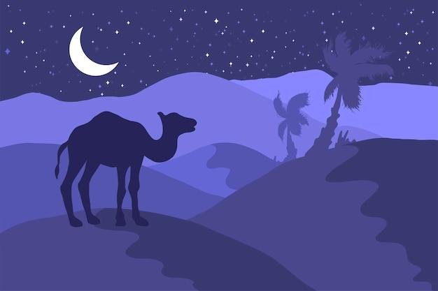 Ночной пейзаж пустыни с иллюстрацией квартиры силуэта верблюда. минималистичный фон дикой природы