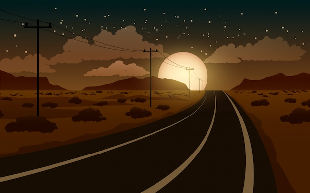 Desert night landscape with road and full moon