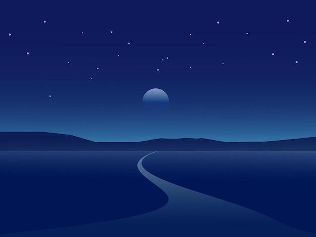 フラットなデザインの道路と砂漠の夜の風景