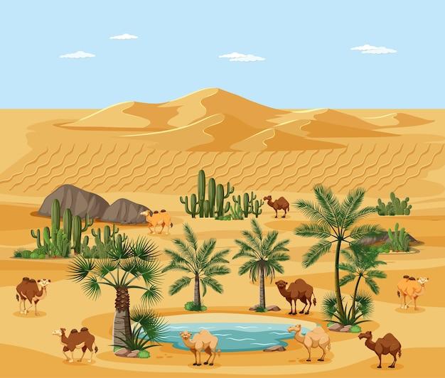 手のひらとラクダの自然景観シーンと砂漠のオアシス