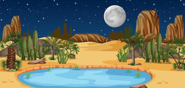 夜景のヤシの木とカトゥスの自然の風景と砂漠のオアシス