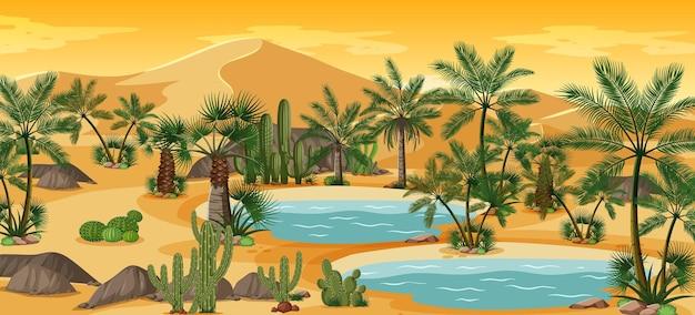 ヤシの木とカトゥスの自然景観シーンのある砂漠のオアシス