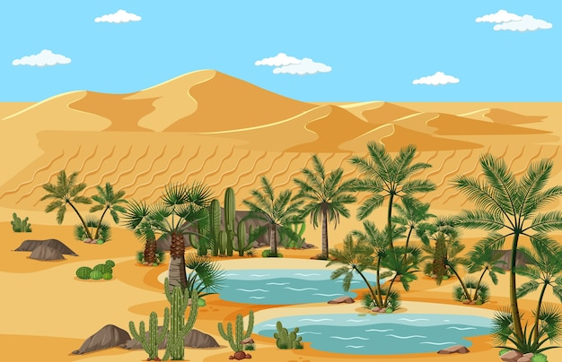 Desert oasis with palms and catus nature landscape scene