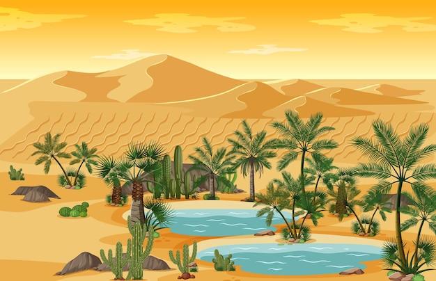 Oasi nel deserto con palme e scena di paesaggio naturale catus