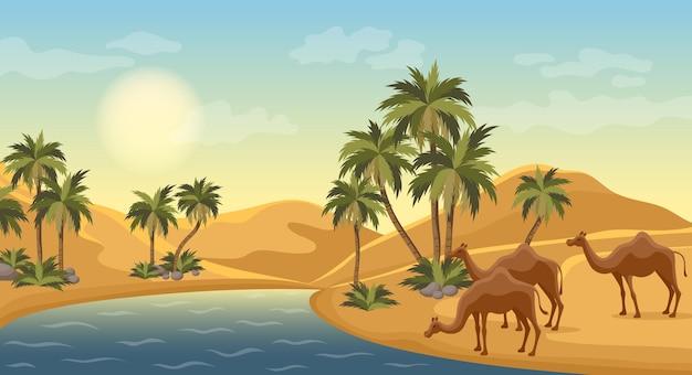 ヤシの木のある砂漠のオアシス、自然の風景シーンのイラスト、エジプトの熱い砂丘、ヤシの木のベドウィンとラクダ