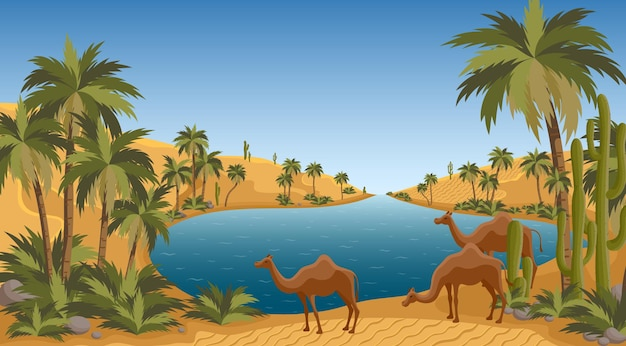 Desert oasis with palms nature landscape scene palm trees pond and sands of arabia egypt hot dunes with palm trees bedouin and camels