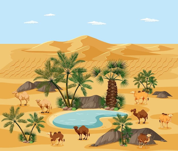 Desert oasis with palms nature landscape scene