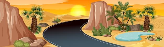 ヤシの自然景観シーンと砂漠のオアシス