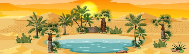 Desert oasis with palms nature landscape scene