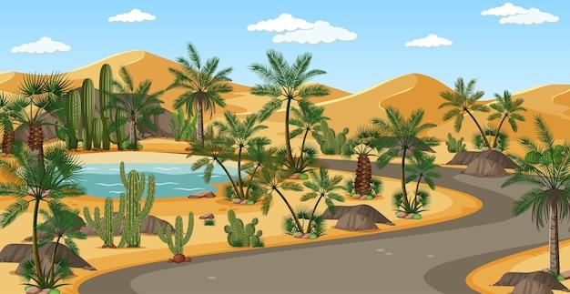 Oasi nel deserto con palme e scena di paesaggio naturale stradale
