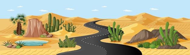 Oasi nel deserto con strada e palme e scena di paesaggio naturale di cactus