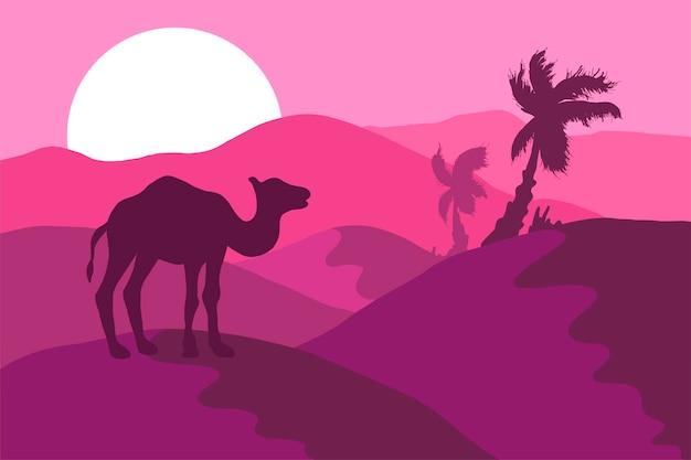 Desert panorama with camel silhouette flat illustration. wildlife, nature minimalistic background