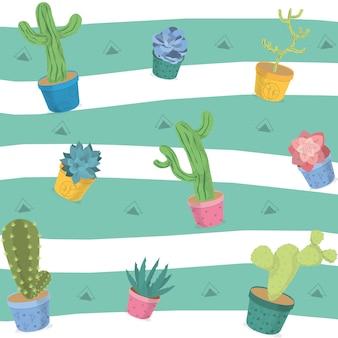 砂漠の植物のパターンの背景