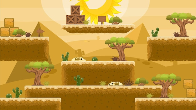 Desert platformer game tileset