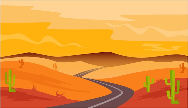 Desert road cactus sandstone landscape