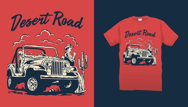 Desert road offroad car illustration