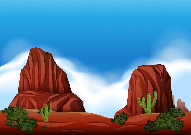 Сцена пустынной скалы в природе