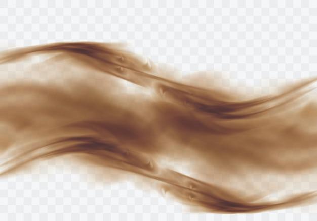 Песчаная буря пустыни, коричневое пыльное облако на прозрачном