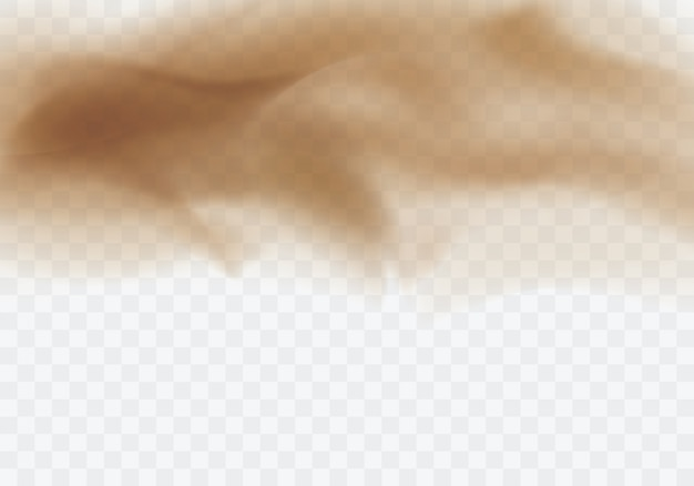 Пустыня песчаная буря, коричневые пыльные облака прозрачный фон