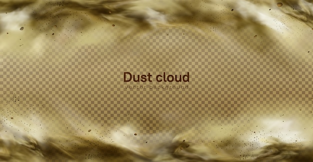 Desert sandstorm, brown dusty cloud on transparent
