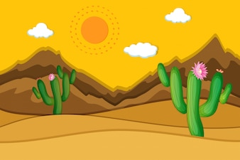 Desert scene with cactus in foreground