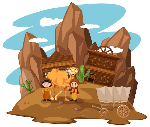 Desert scene with kids and camel